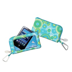 Charm14 Designer Phone Wallet with Touch Screen in Kyoto Aqua/Lime!