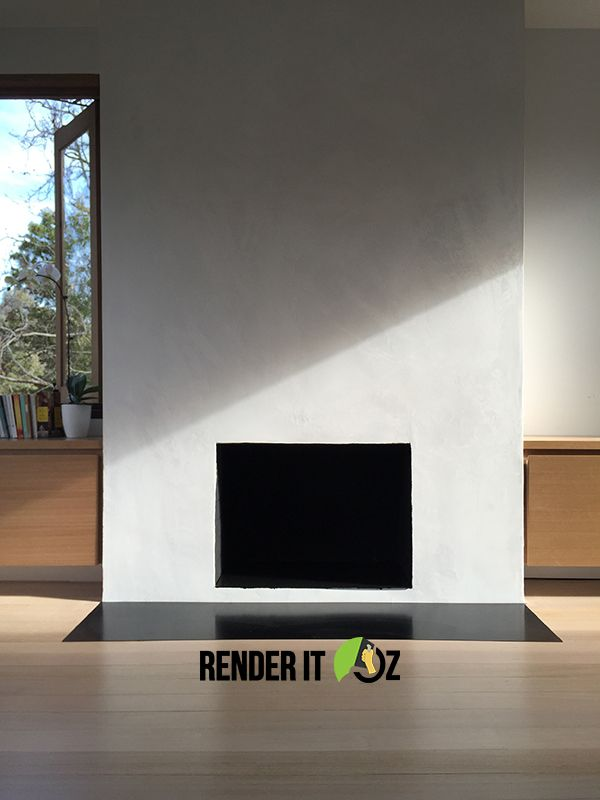 A gorgeous fireplace project we completed in Melbourne #concrete look #render Read about the project and products we used here