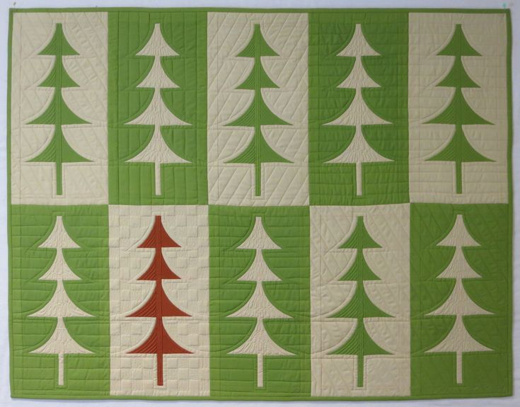 """Mini Trees, 37"""" X 48"""". A free pattern from Sew Kind of Wonderful using the mini quick curve ruler. Domestic machine quilted."""