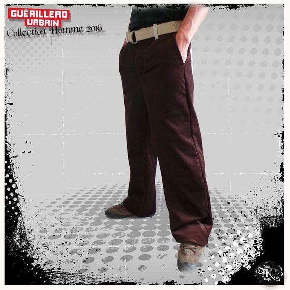 Pantalon Large Homme, Taille L, en velours cotelé marron et coton naturel, création recyclée et unique