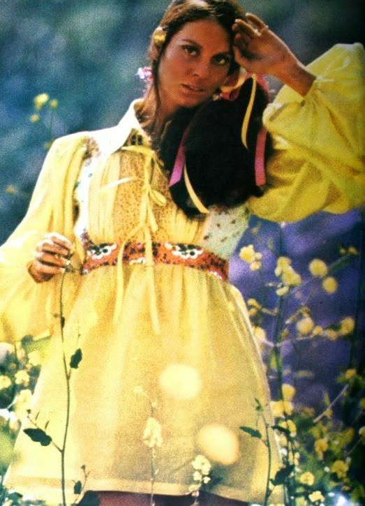 Lesley Ann Warren is wearing a yellow mini-dress by Kenzo. Photo Henry Clarke, Vogue Paris May 1971