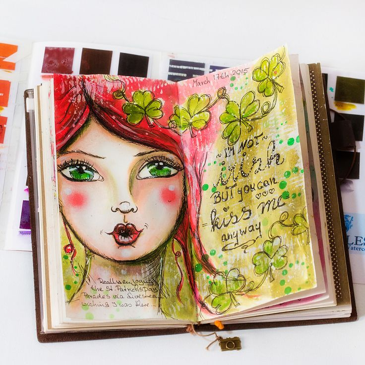 Just wanted to share with you real quick: A Page in my Midori Artjournal which I made on St. Patricks Day ... Supplies used: Peerless Watercolors, Tim Holtz Distress Stains, Faber Castell Pitt Artist Pen (fine tip, black), Faber Castell Big Brush Pen, Faber Castell Gelatos