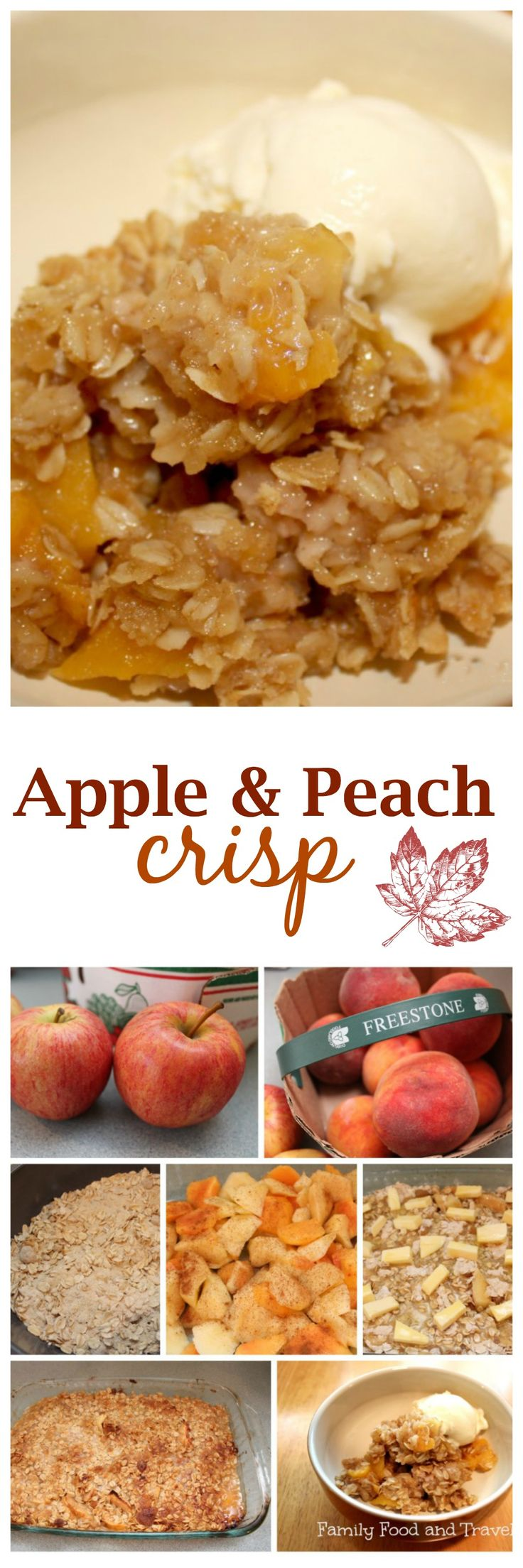 Apple and Peach Crisp is a favorite Fall dessert recipe. With just the perfect amount of sweetness and bursting with fruit it pairs with vanilla ice cream.