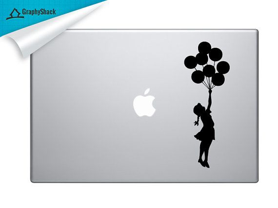 Banksy Girl With Balloons Mac Decal Vinyl Laptop by DecalShark