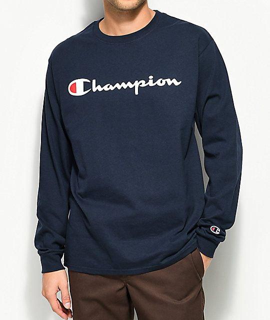 Champion Patriotic Script Navy Long Sleeve T-Shirt  9febb110f8ee