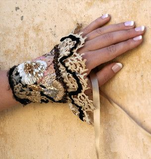 Juliette -hand embroidered cuff from vintage and antique textiles Bonheur,  Etsy