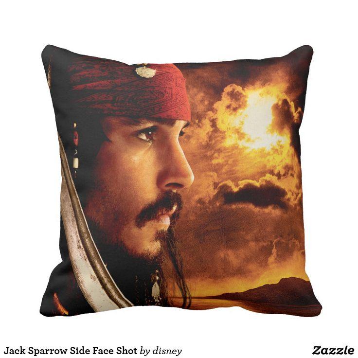 Jack Sparrow Side Face Shot. Producto disponible en tienda Zazzle. Decoración para el hogar. Product available in Zazzle store. Home decoration. Regalos, Gifts. #cojín #pillows
