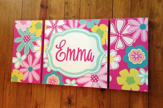 Large nursery art-personalized triptych-name monogram initials- hand painted- pottery barn petite paisley- pink aqua floral