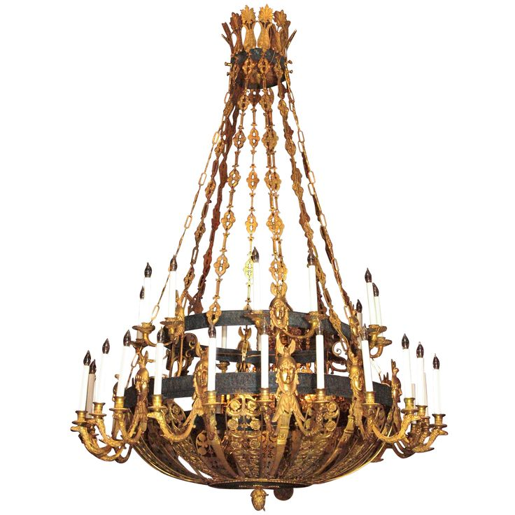 Antique Bronze Gold And Patinated Empire Chandelier