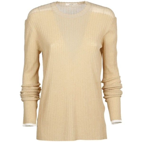 Celine Knitted Jumper ($430) ❤ liked on Polyvore featuring tops, sweaters, nude, beige sweater, celine top, beige top, celine sweater and jumpers sweaters