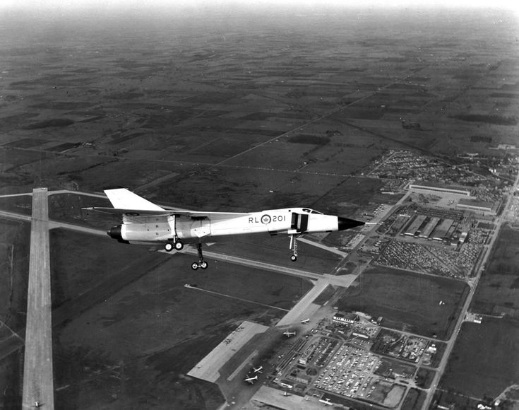 Avro Arrow (RL-201) (flying over Avro's Malton, Ontario factory)