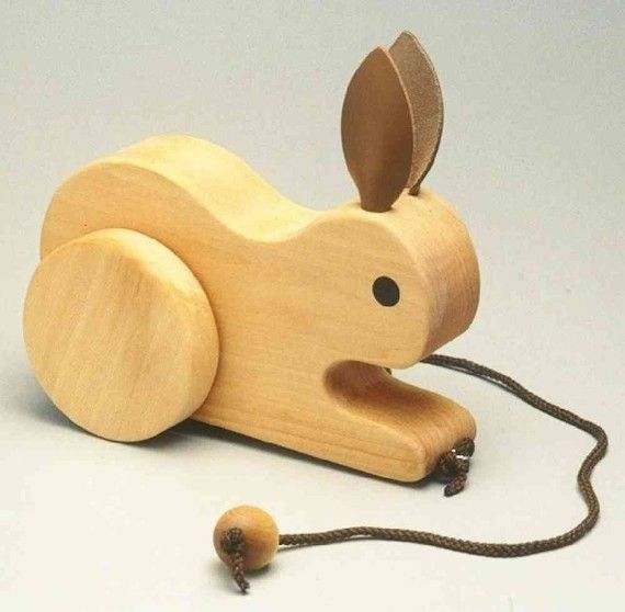 Handcrafted childrens Hopping Rabbit Pull Toy by stumppondtoy, $26.95
