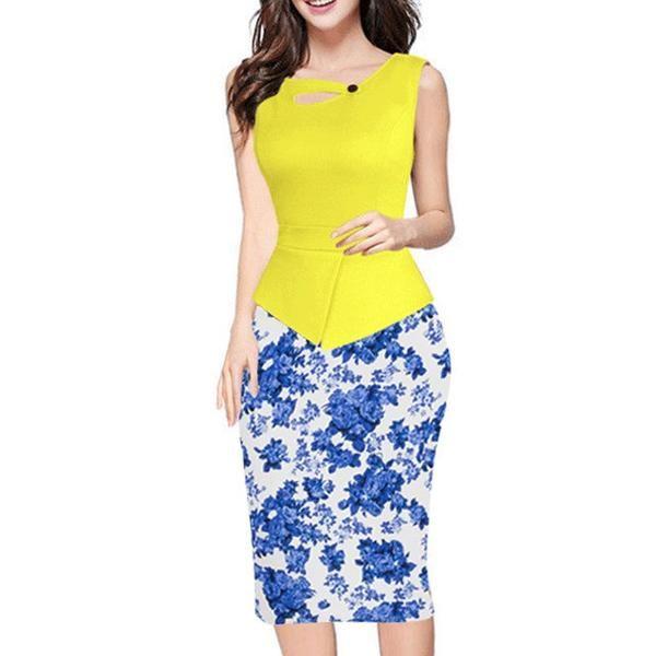 Patchwork Pencil Knee Length Dress
