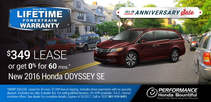 New 2016 Honda Odyssey: Purchase a New 2016 Odyssey with a Lifetime Limited Wrap & Powertrain Warranty for only $31,986 or lease for only $349 per month or get 0% Financing for 60 months OAC. https://www.performanceut.com/offers/new-2016-honda-odyssey-bountiful-0317?utm_source=rss&utm_medium=Sendible&utm_campaign=RSS