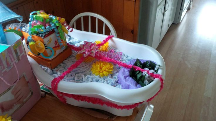 Baby bath tub and extra diapers from the diaper cake in it