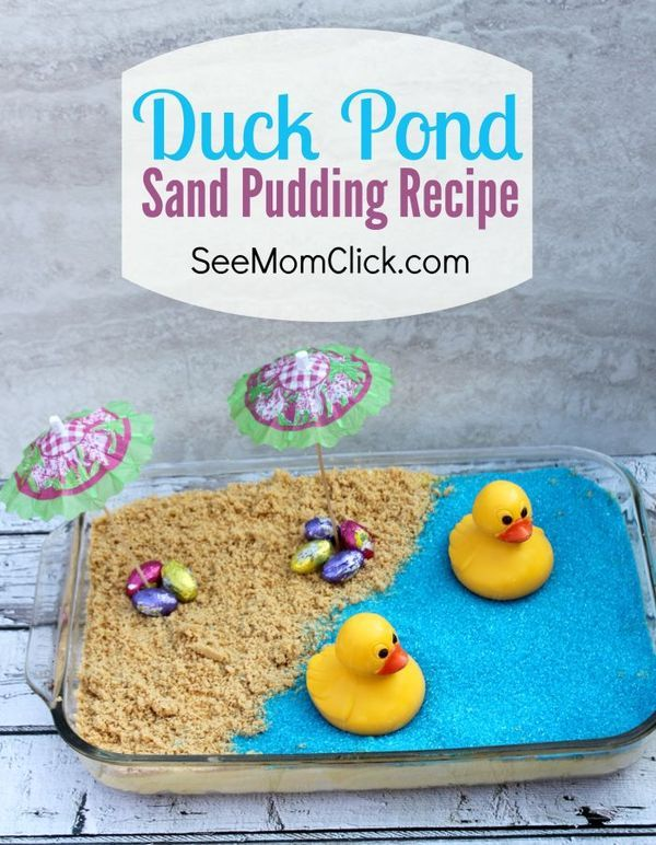 Looking for unique Easter ideas & fun dessert recipes for your celebration? This Duck Pond Sand Pudding Recipe might be more fun to make than it is to eat! Save it for a summer party idea too!