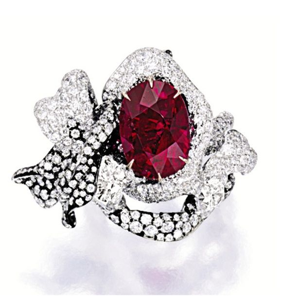 IMPORTANT RUBY AND DIAMOND RING, CINDY CHAO