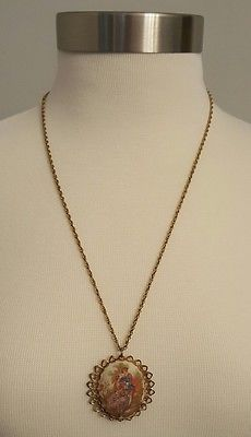 Monet Gold look Chain Necklace With Large  Round Pendant with portrait