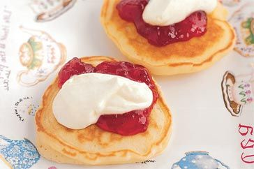 Kids will have fun watching the batter bubble while they make these yummy small, thick pancakes.