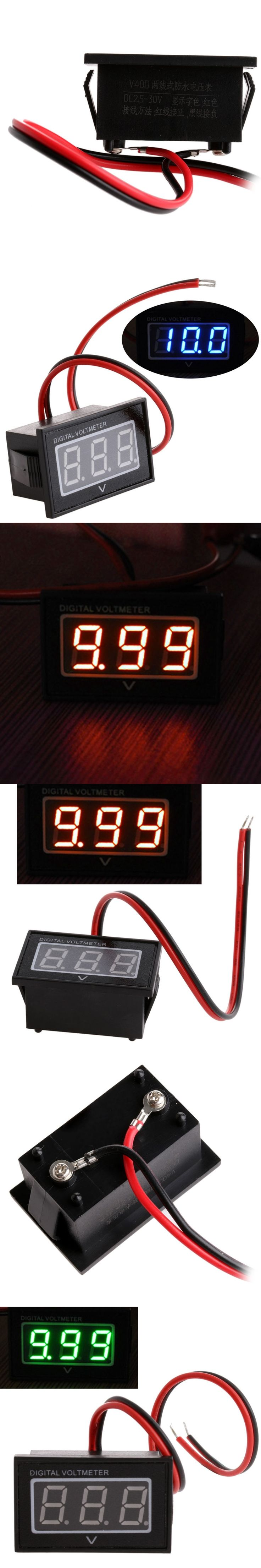 DC 3.0-30V Waterproof Battery Meter Auto Car Gauge Digital Voltmeter LED
