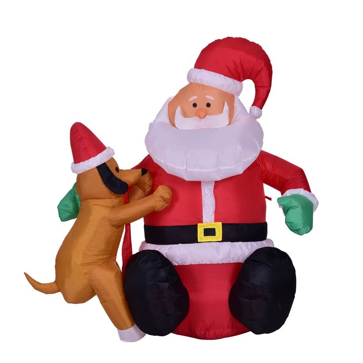 4 Foot Christmas Inflatable Airblown Santa Claus With Puppy Dog Xmas Blow Up Decoration For Home Yard Garden Outdoor And Indoor You Can Get Additional