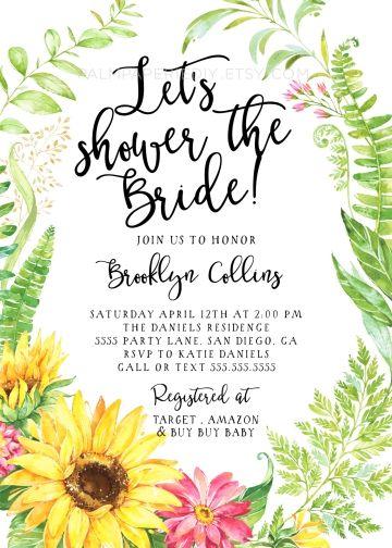 Rustic Bridal shower Invitation, Sunflower, INSTANT DOWNLOAD, Summer