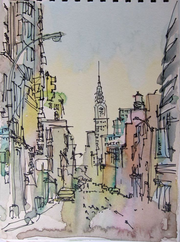 Amazing NYC sketches: Paintings Art, Watercolor Art, Sketch, New York Cities, Travel Art, Water Color, Nyc, Chrysler Building, New York Travel