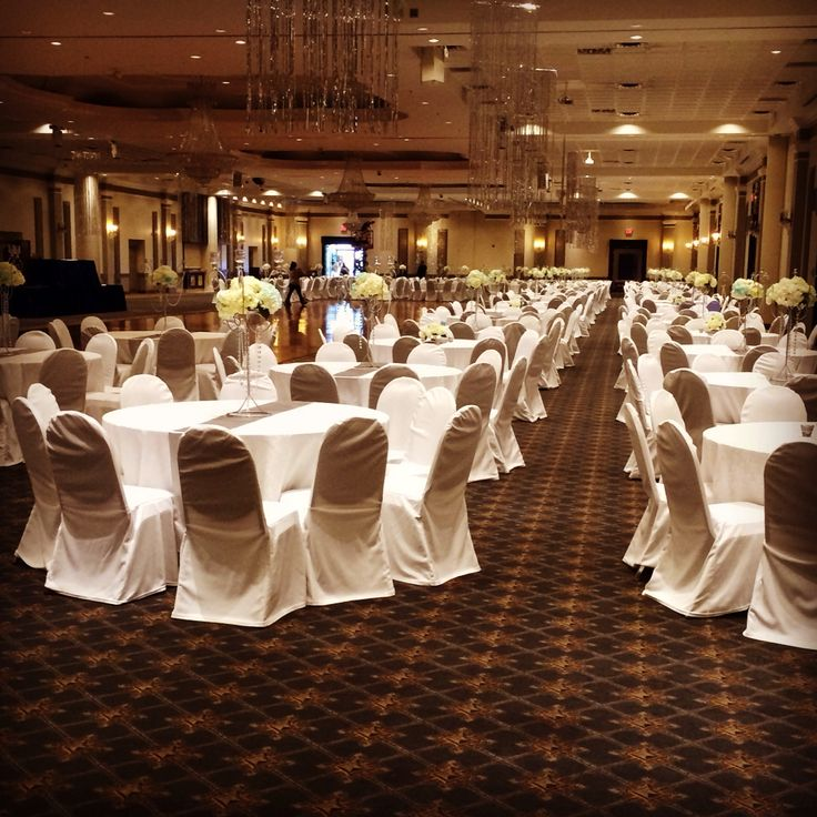 long table setup wedding reception%0A Party setup of our white damask table cloths   Mississauga Convention  Centre  table  linens