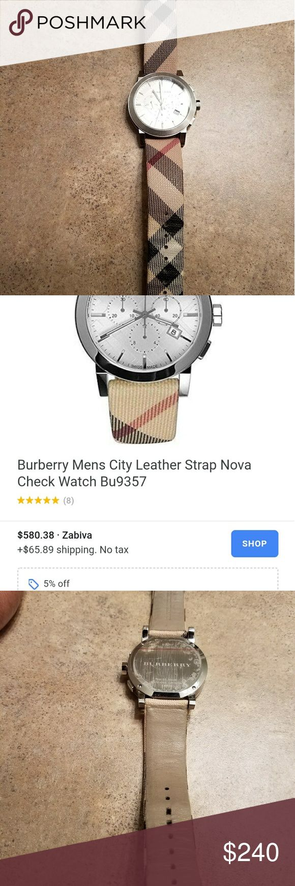 Burberry mens watch Few scratches on the front need new battery Jewelry Bracelets