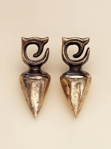 Indonesia | Brass earrings from the Kayen/Kenyah - Dayak people of Borneo Island, Kalimantan