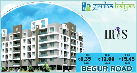 Gruhakalyan IRIS at BEGUR ROAD 20% OFF On Flats 1, 2 & 3 BHK Available, Price Starts From 1BHK 8.35 Lakhs, 2BHK 12 Lakhs and 3BHK 15.45 Lakhs.
