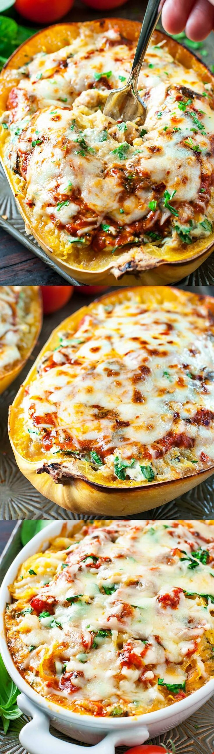 This easy Cheesy Vegetarian Spaghetti Squash Lasagna is a tasty low-carb and gluten-free alternative to traditional lasagna that is sure to satisfy all your comfort food cravings!