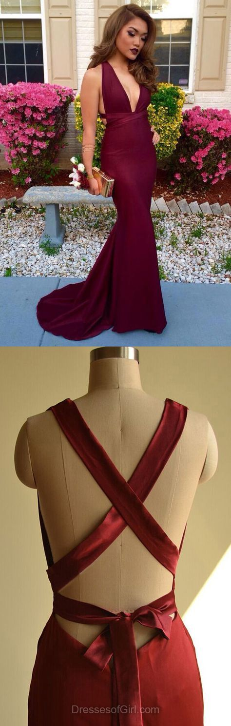 Trumpet/Mermaid V-neck Silk-like Satin Sweep Train Ruffles Burgundy Backless Trendy Prom Dresses