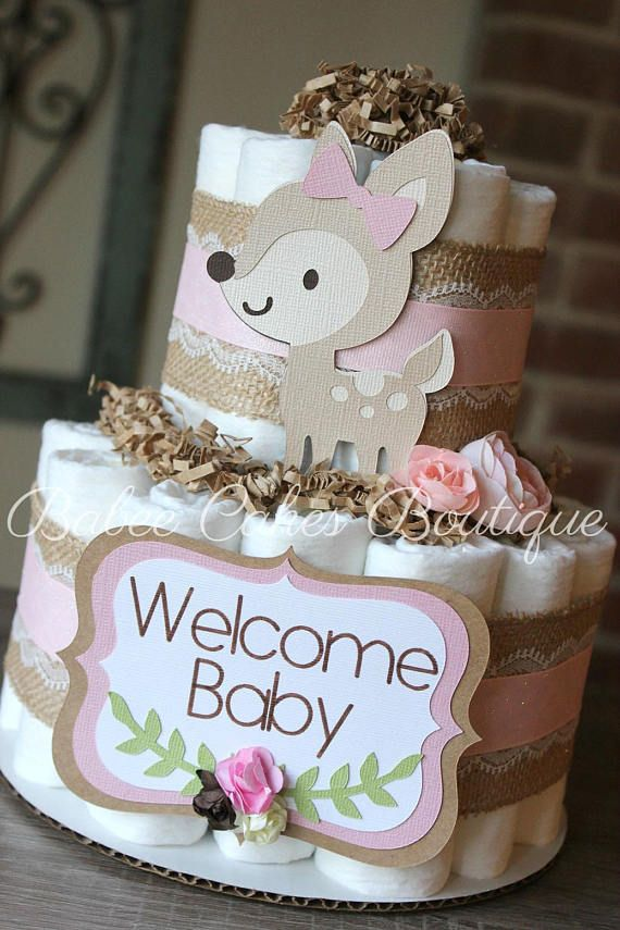 2 Tier Pink Deer Woodland Diaper Cake Girl Woodland Baby Shower