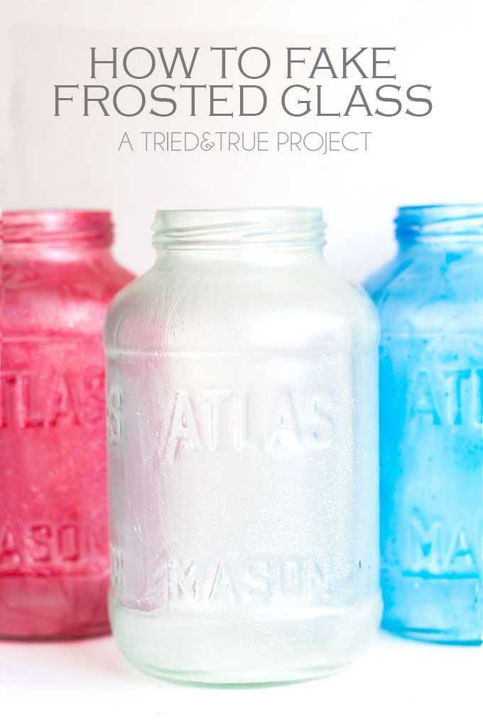 How To Fake Frosted Glass - perfect way to spruce up those recycled spaghetti jars!