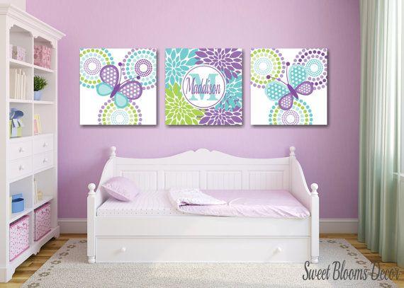 Butterflies Nursery Wall Art,Lavender Teal Nursery Wall Art,Purple Teal Nursery,Butterflies Nursery Decor,Purple Teal Wall Art by SweetBloomsDecor