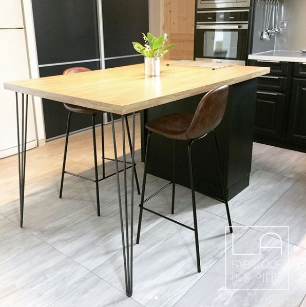 Pied De Table 3 Tiges 90cm Hairpin Legs La Fabrique Des Pieds Table Haute Cuisine Ilot Cuisine Table Bar Cuisine