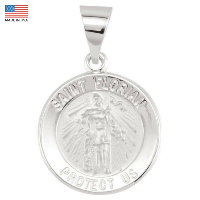 Pure 14k White Gold St. Florian (Patron Saint of Firefighters) Pendant Medal - 15MM