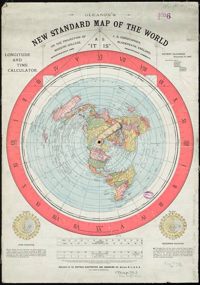 Gleason's New Standard Map of the World [Flat Earth] circa 1892 : 24x36 canvas