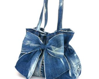 jean purse , recycled denim bow bag , blue handbag , Eco friendly , Vegan , Handmade , Bow purse , Upcycled clothing , girls fashion bag