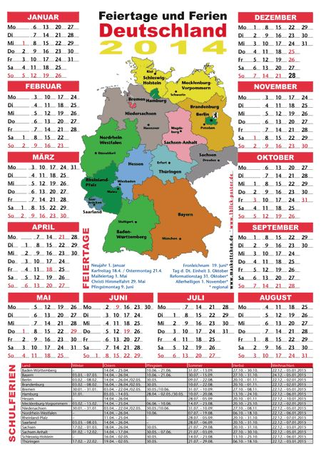 Ferienkalender 2014. Great for practicing ordinal numbers. Also: new online exercise on ordinal number endings: -sten/-ste/-ten/-te. http://deutschdrang.com/dir/wp-content/uploads/2013/02/ordinalnumbers.htm