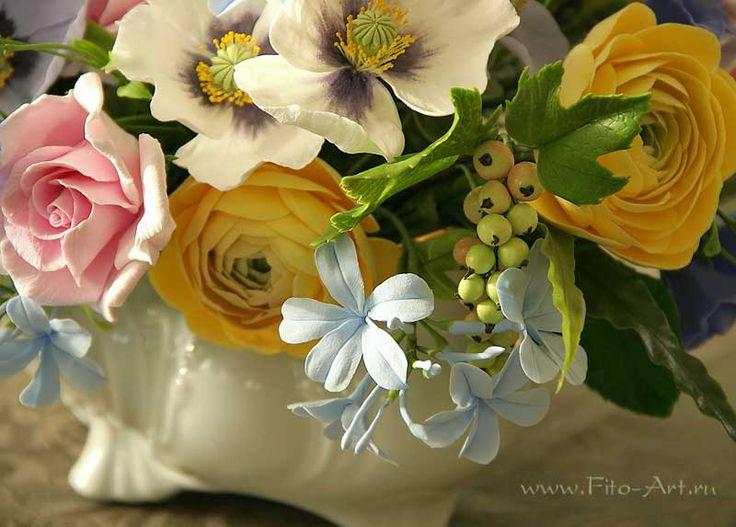 Лучшие работы : Букет для Элины. Цветы из полимерной глины. - Fito Art