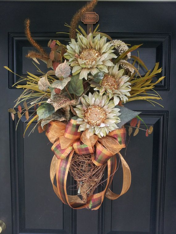 Large Fall Grapevine Door Wall Wreath Swag by TheChicyShackWreaths, $125.00