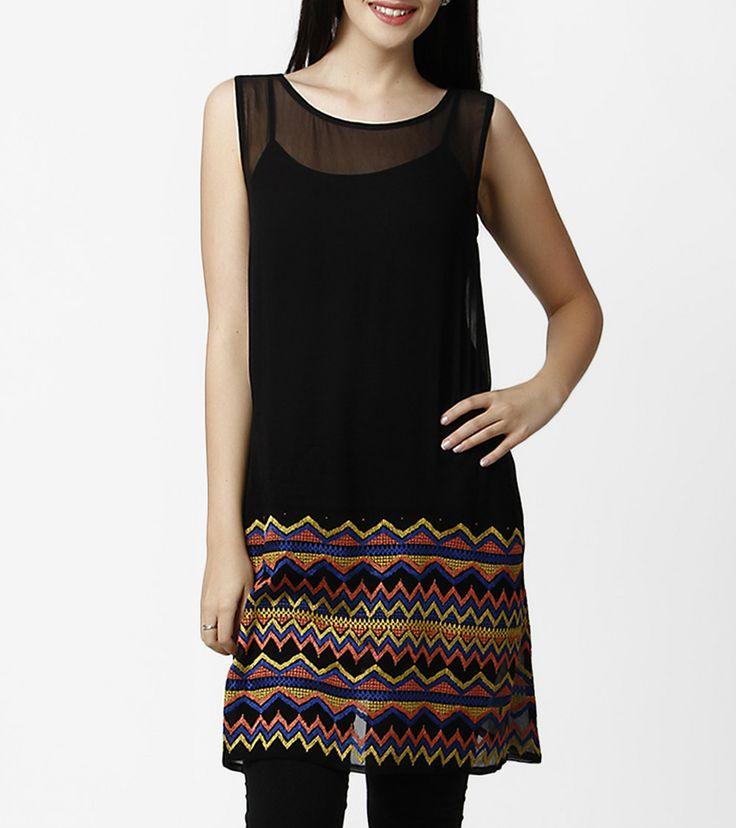 Black Georgette Kurta With Resham Embroidery