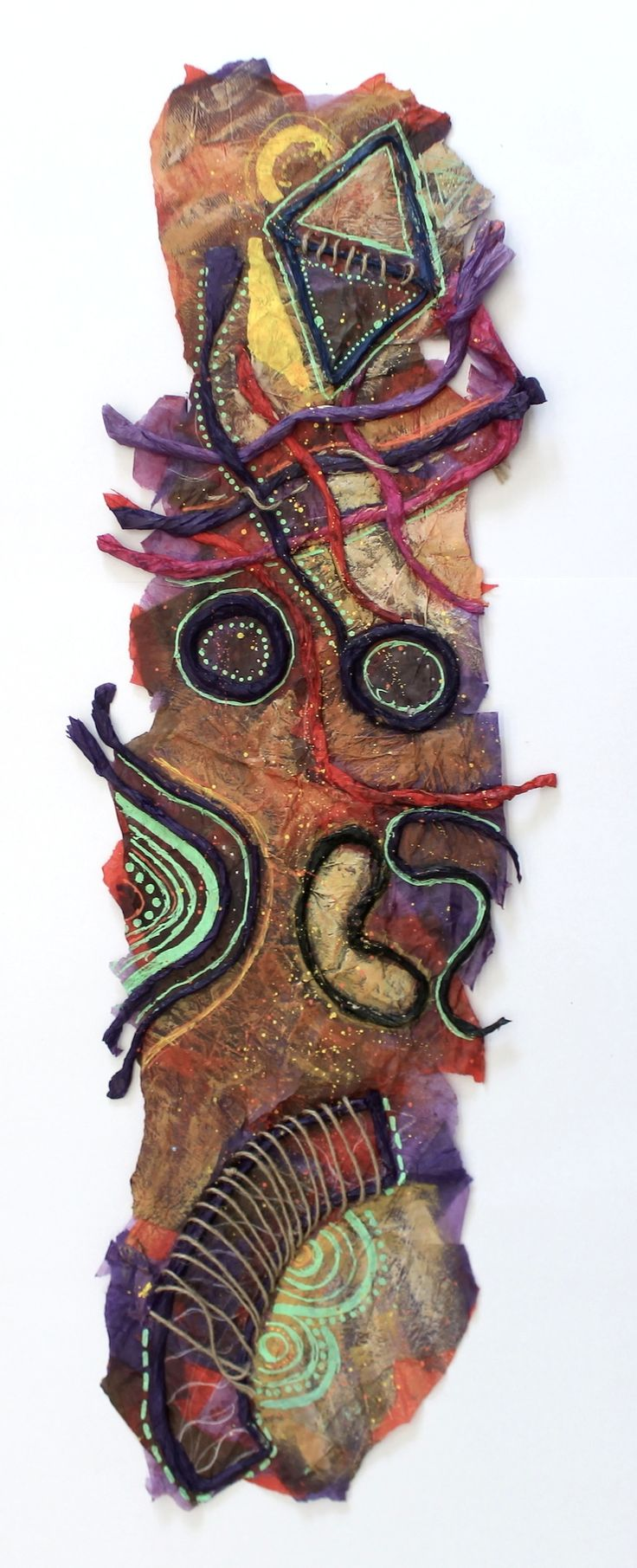 Year 8: Australian Aboriginal Art. A mixed-media Songline, illustrating major events in the student's life.  www.nickycases.com