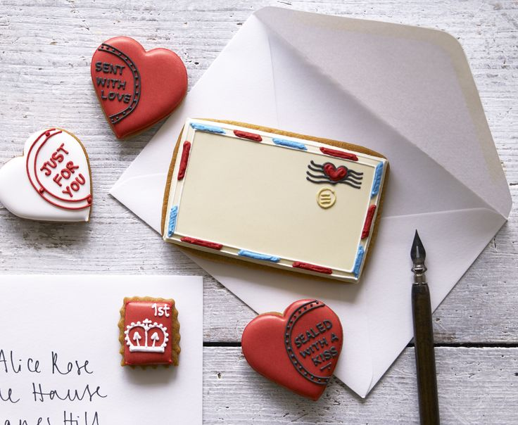 Love letter and hearts biscuit card by Biscuiteers.