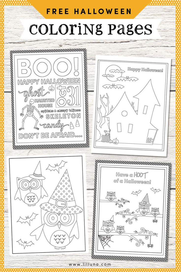 FREE Halloween Coloring Pages...I think these would be so fun to resize into Project Life card size & have the kiddos color them for the week's layout. Source: FREE Halloween Coloring Pages