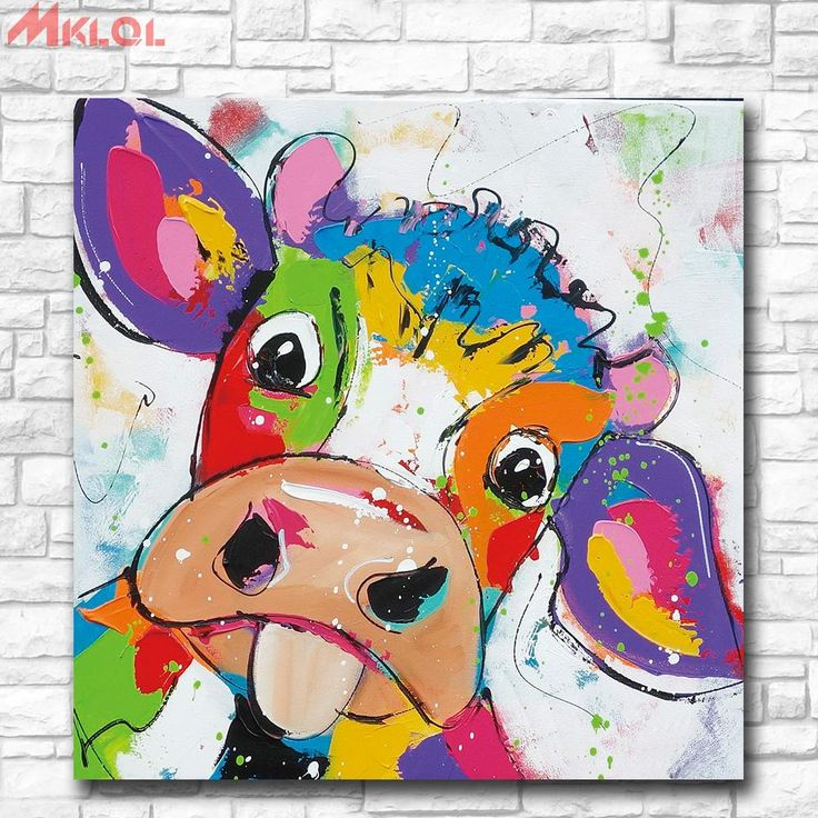 Animal Pop Art Cute little Cow, 1 Piezas Lienzo Prints Arte de la pared Pintura al óleo Decoración del hogar (Sin enmarcar / Enmarcado)
