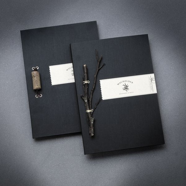 Wacholder by Markus Weissenhorn, via Behance Lovely idea, incorporating natural elements into a bespoke binding