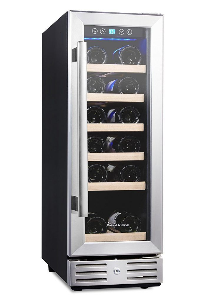 Kalamera Wine Refrigerator 18 Bottle Built In Or Freestanding With Stainless Steel Silver Double Layer Tempered Glass Door And Temperature Memory